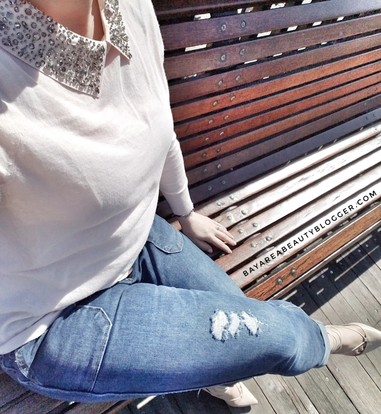 Embellished Sweater and Girlfriend Jeans Look