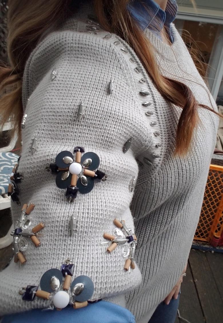 Embellished Gray Banana Republic Sweater