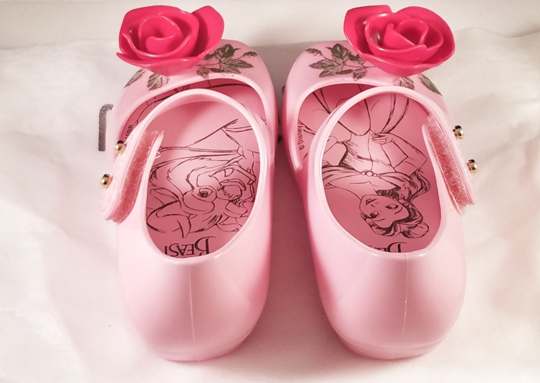 Mini Melissa Beauty and the Beast Pink Toddler Shoes with Roses
