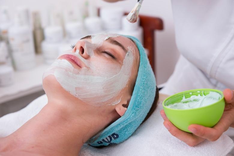 Close Up of Woman Getting a Facial at a Spa