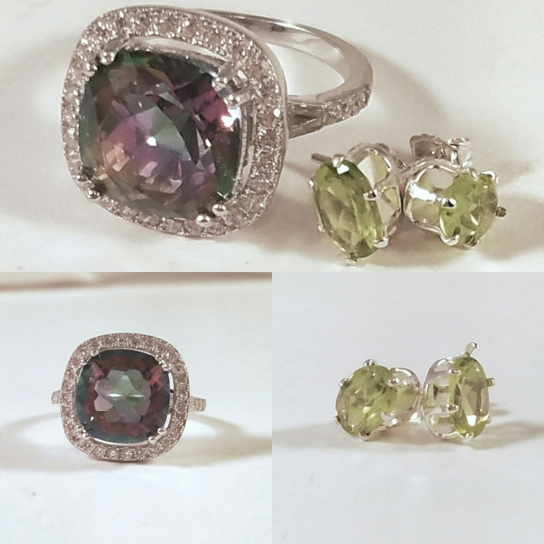 TopHatter Live Online Auction Smokey Quartz Ring and Peridot Studs Earrings