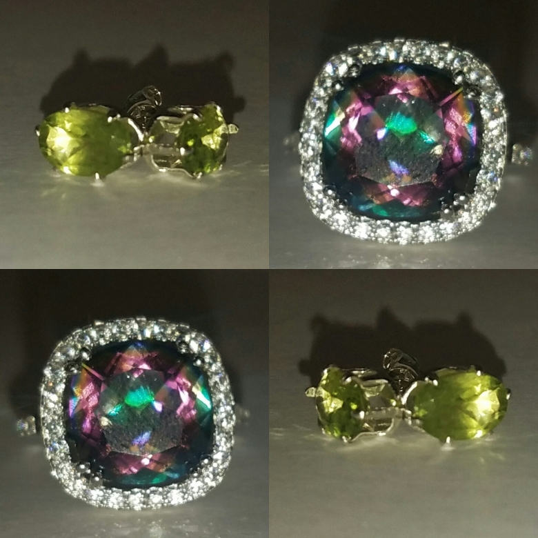 Smokey Quartz Ring and Peridot Earrings from TopHatter.com