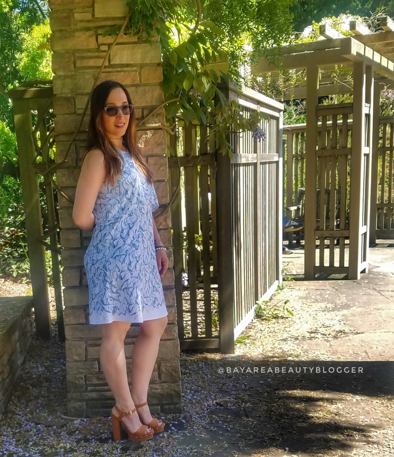 White Tory Burch Dress with Light Blue Pattern